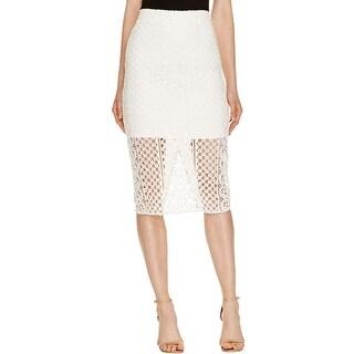Bardot Womens Calista Straight Skirt Crepe Lace Overlay - 6