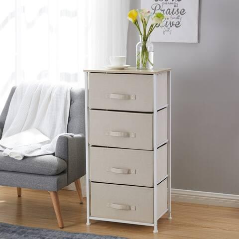 4 Drawer Vertical Storage Linen Fabric Dresser Tower