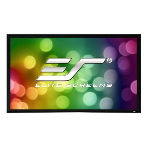 """Elite Screens ER110WH2 Fixed Frame 2 110"""" Projector Screen w/ CineWhite Material - Black"""