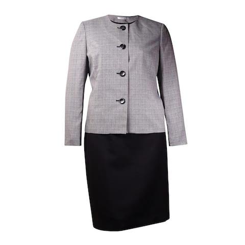 Le Suit Women's Colorblock Plaid Skirt Suit (10, Black/White) - Black/White - 10