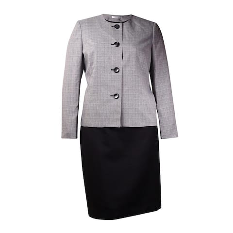 Le Suit Women's Colorblock Plaid Skirt Suit (6, Black/White) - Black/White - 6