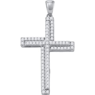 Cross Pendant 10K White-gold With Diamonds 0.33 Ctw By MidwestJewellery - N/A