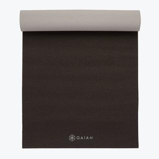 GAIAM Premium 2-Color Yoga Mats (5MM) Granite Storm - Black