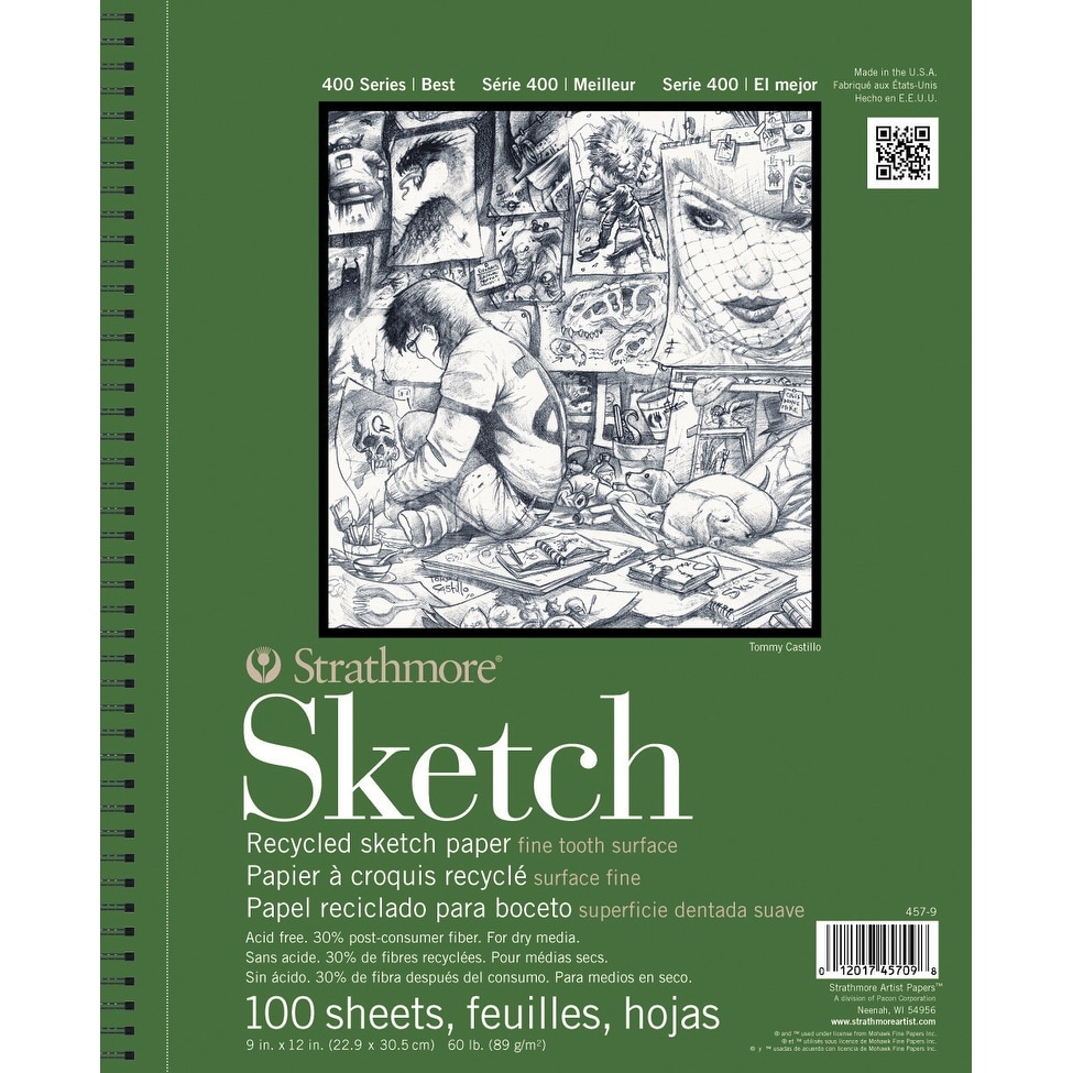 Strathmore 400 Series Recycled Sketch Pad 9 X 12 Inches 60 Lb 100 Sheets