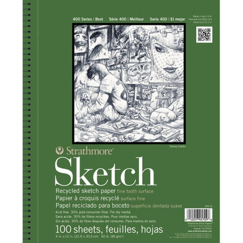 Strathmore 400 Wire Binding Acid-Free Recycled Sketch Pad, 60 lb, 9 X 12 in, 100 Sheets, White