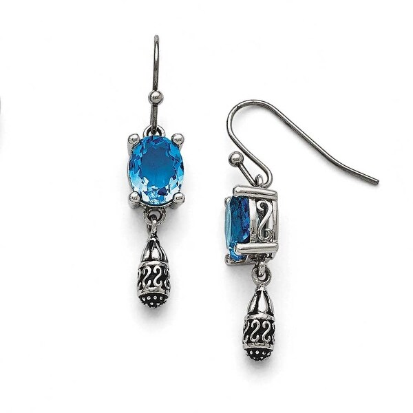 Chisel Stainless Steel Polished and Antiqued Blue Glass Earrings