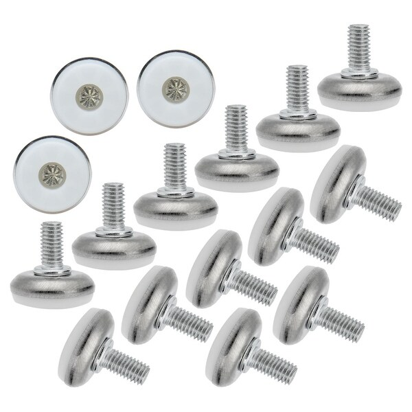 M8 x 15 x 28mm Screw on Furniture Glide Leveling Feet Adjustable Leveler Pad for Chair Industrial Machine Desk Leg