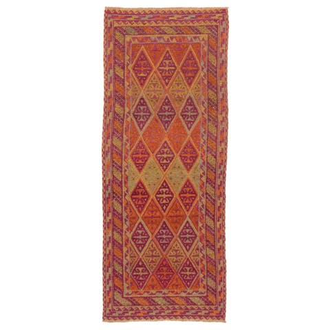 ECARPETGALLERY Hand-knotted Tajik Caucasian Purple Wool Rug - 2'5 x 6'1