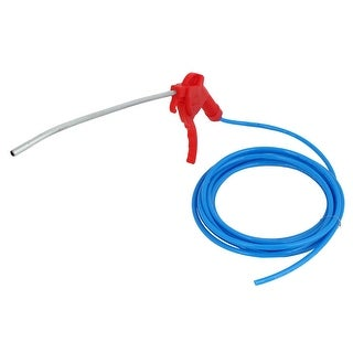 Red Plastic Trigger High Pressure Air Blowing Gun + Blue 6mm OD Hose Pipe 5Meter