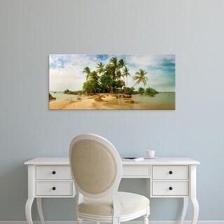 Easy Art Prints Panoramic Image 'Palm trees on beach in Morro De Sao Paulo, Tinhare, Cairu, Bahia, Brazil' Canvas Art
