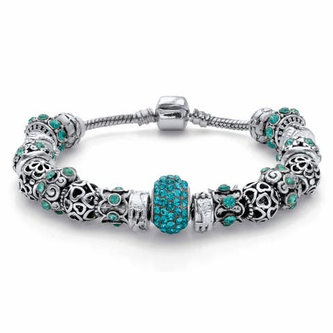 Silvertone Round Aqua Blue Crystal Bali Style Beaded Charm Bracelet