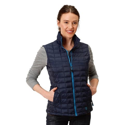 Roper Western Vest Womens Down-Like Quilted Zipper - Navy