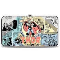 Marvel Comics Classic Thor Standing Pose + Comic Scene Blocks Multi Pastel Hinge Wallet - One Size Fits most