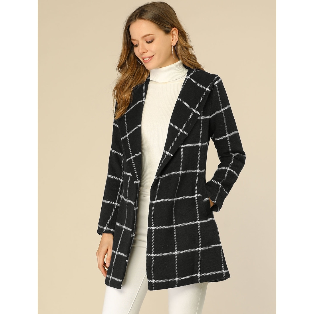 Allegra K Womens Buffalo Plaid Shawl Collar Lapel Double Breast Belted Winter Coat Overcoat with Pockets