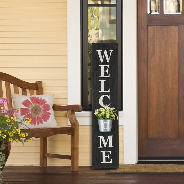 """Glitzhome 42""""H Wooden WELCOME Porch Sign with Metal Planter. Opens flyout."""