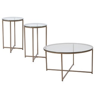 Offex Greenwich Collection 3 Piece Coffee and End Table Set with Glass Tops and Matte Gold Frames