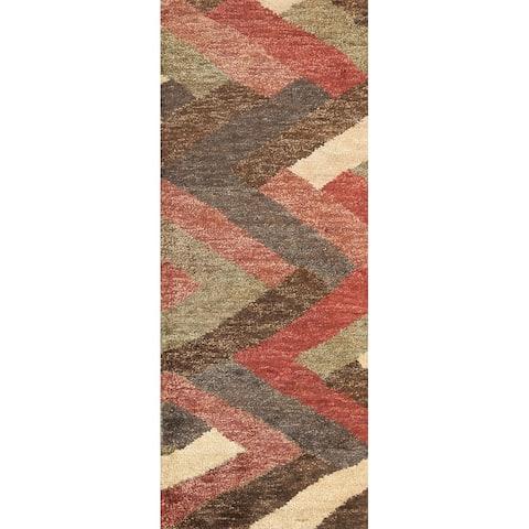 "Chevron Style Moroccan Oriental Runner Rug Handmade Staircase Carpet - 2'6"" x 7'10"""