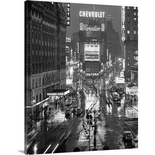 """""""1950's Times Square New York City Looking North To Duffy Square Manhattan USA"""" Canvas Wall Art"""