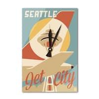 Seattle, Washington - Jet City - LP Artwork (Acrylic Wall Clock) - acrylic wall clock