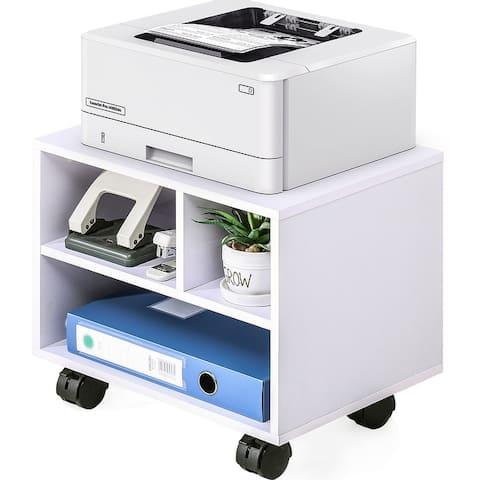 FITUEYES Printer Stand on Wheels Mobile Under Desk Work Cart