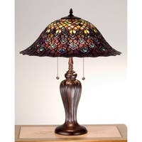 Meyda Tiffany 26666 Stained Glass / Tiffany Accent Table Lamp from the Peacock Feather Collection - n/a