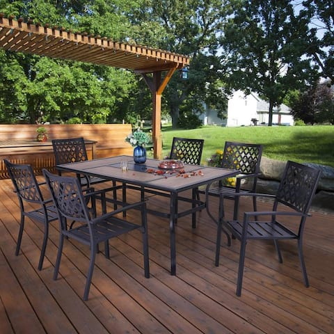Sophia & William 7 Pieces Patio Steel Dining Set with 6 Steel Garden Chairs and 1 Patio Umbrella Rectangle Table