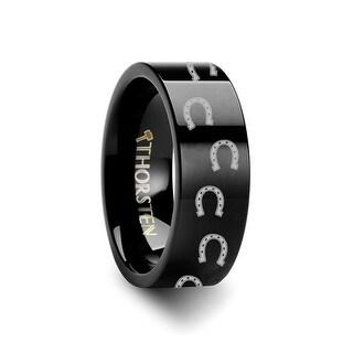 THORSTEN Animal Horse Shoe Print Ring Engraved Flat Black Tungsten Ring 10mm