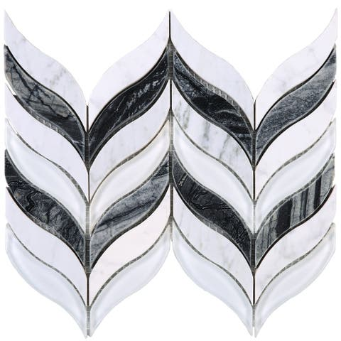 TileGen. Leaf Random Sized Marble Mix Glass Mosaic Tile in White/Gray Wall Tile (10 sheets/7sqft.)