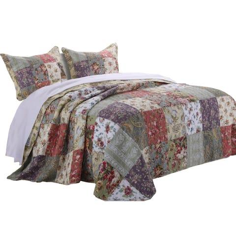 Chicago 3 Piece Fabric Queen Bedspread Set with Jacobean Prints, Multicolor