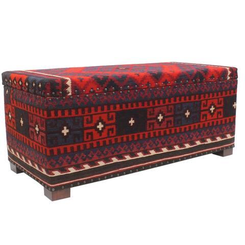 "Vintage Dudley Red Blue Kilim Upholstered Storage Settee - 48""x23""x21"""