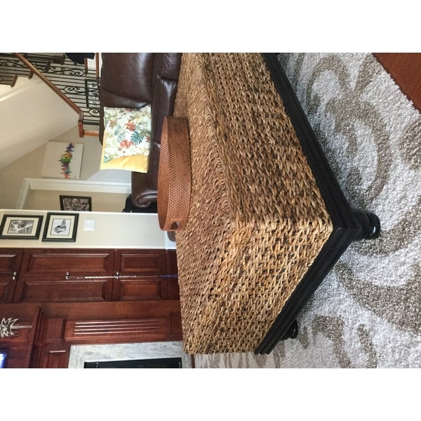 Shop Meticulously Woven Brown Abaca Coffee Table With Storage   Free  Shipping Today   Overstock.com   8184537