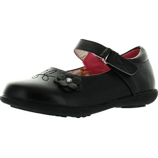 Girls School Collection Clase-08 Girls Kids Casual Flower School Uniform Shoes - Black