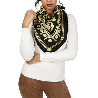 Versace Black/Gold Baroque Print Silk Foulard Scarf