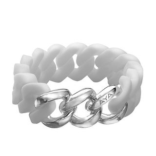 Silix by Aya White Silicon Bracelet with Sterling Silver-Plated Stainless Steel