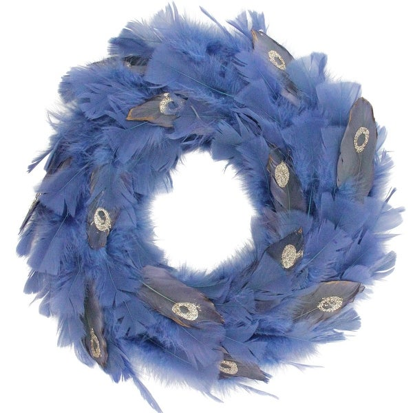 """14"""" Regal Peacock Embellished Blue Feather Artificial Christmas Wreath - Unlit"""