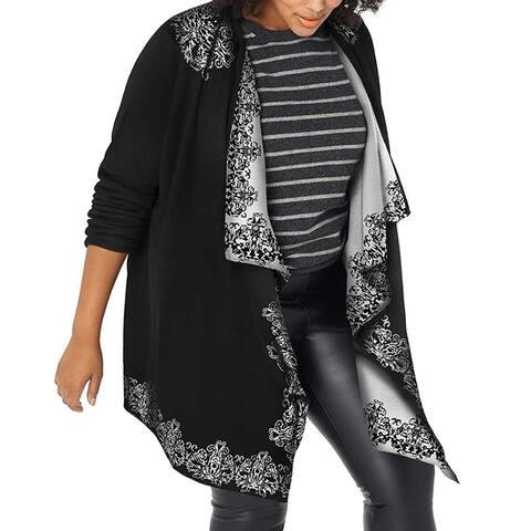 Napa Valley Womens Sweater Black White 3X Plus Jacquard Flyaway Cardigan
