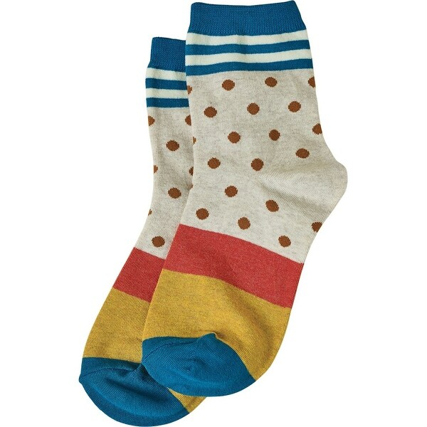 Women's Socks - Dots 'N Stripes Socks - Teal - One size
