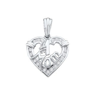 """Mom"" Heart Pendant 10K White-gold With Diamonds 0.16 Ctw By MidwestJewellery - N/A"
