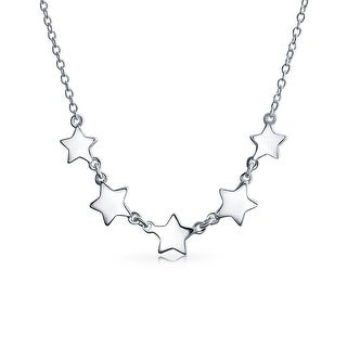 Patriotic 5 Stars Rock Star Collarbone Choker Necklace Sterling Silver