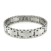 Stainless Steel Track Style Link Bracelet - 8.5 inches