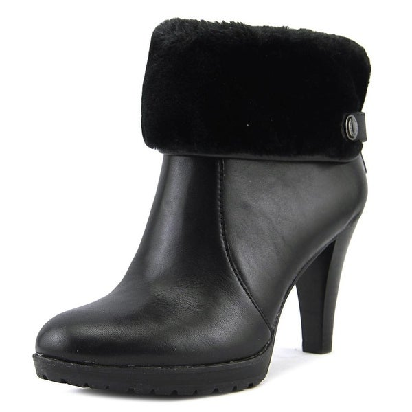 Anne Klein Teamy Women Round Toe Leather Black Ankle Boot