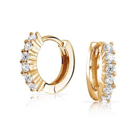 921dad68c 5 Solitaire Prong Set CZ Small Kpop Huggie Hoop Earrings For Women Men Cubic  Zirconia 14K
