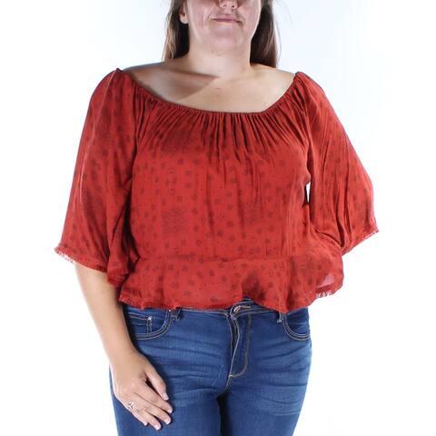 BUFFALO Womens Red Fringed Paisley Kimono Sleeve Off Shoulder Top Size: XL