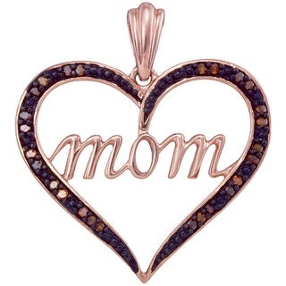 """Mom"" Heart Pendant 10K Rose-gold With Cognac Diamonds 0.08 Ctw By MidwestJewellery - brown"