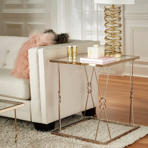 Sandiacre Champagne Gold Reef Knot Frame and Glass End Table by iNSPIRE Q Bold