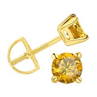 Prism Jewel Yellow Color Diamond Prong Set Screw Back Stud Earring - 0.18 carats