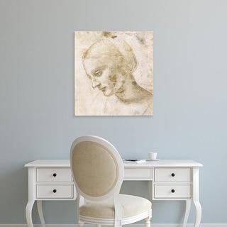 Easy Art Prints Leonardo da Vinci's 'Study of a woman's head' Premium Canvas Art