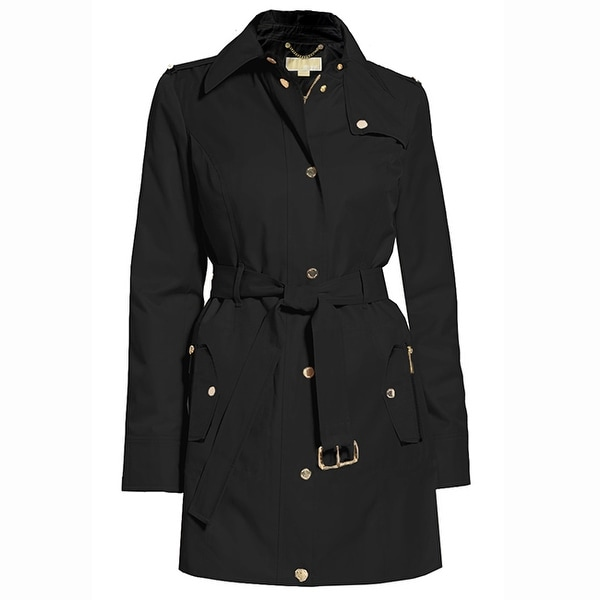Michael Kors Womens Black Hooded Belted Trench Coat Jacket