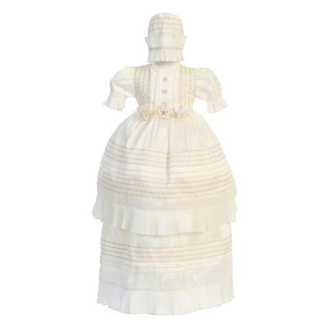 Angels Garment Ivory Self-Tie Bow 2-Pc Baptism Bonnet Dress Baby Girls