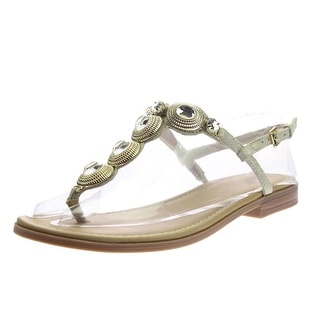 White Mountain Womens Baywatch Leather Embellished T-Strap Sandals - 6 medium (b,m)